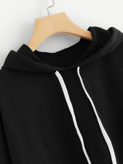 Random Letter Tape Split Sleeve Sweatshirt - Gym Tops