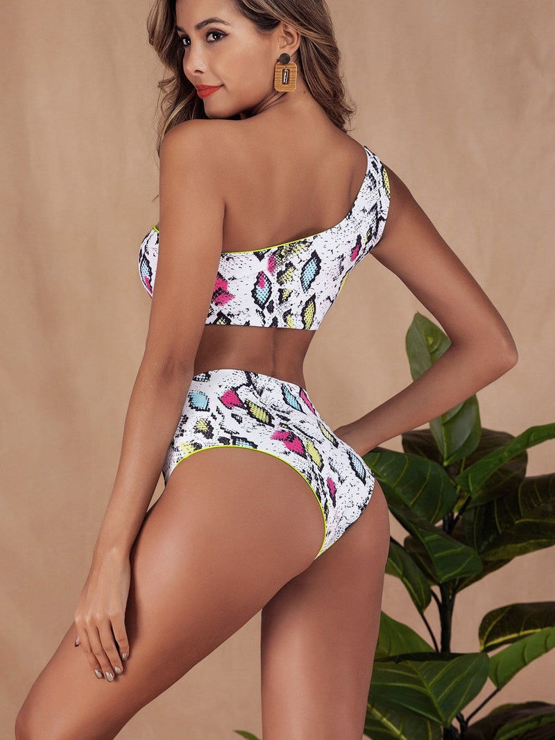Random Snakeskin One Shoulder Top With High Waist Bikini - S - High Waist Swimwear