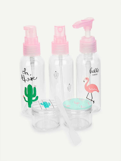 Random Tropical Print Travel Bottle 5Pcs - Beauty Tools