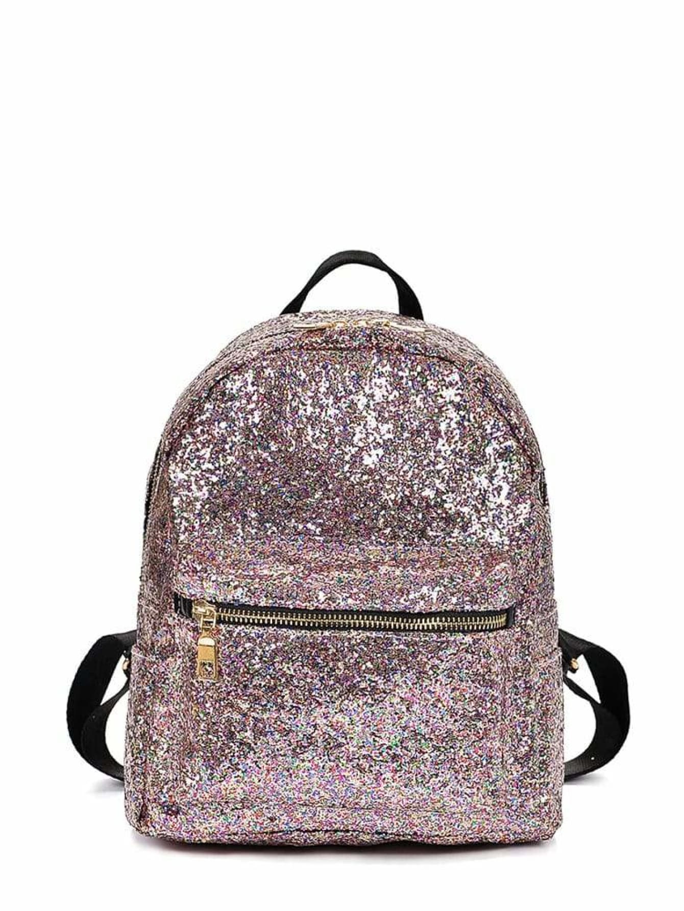 Random Zipper Glitter Design Backpack - Womens Bag