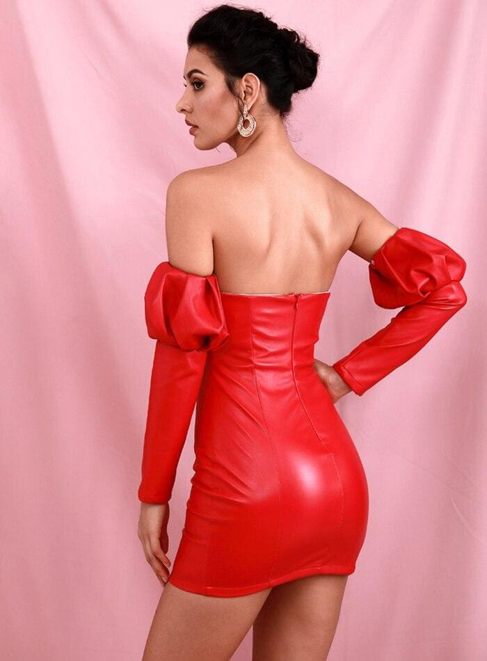 Red Black Tube Top V-neck Bubble Sleeve PU Bodycon Party Mini Dress