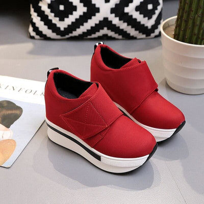 Red Breathable Platform Sneakers - Womens Sneakers