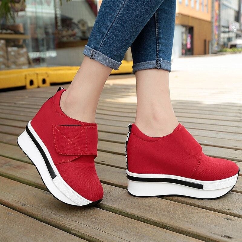 Red Breathable Platform Sneakers
