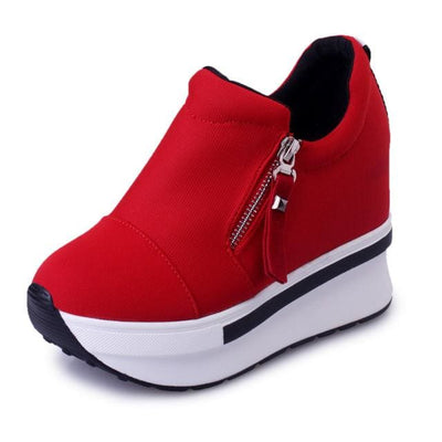 Red Breathable Platform Sneakers - zipper red / 6.5 - Womens Sneakers