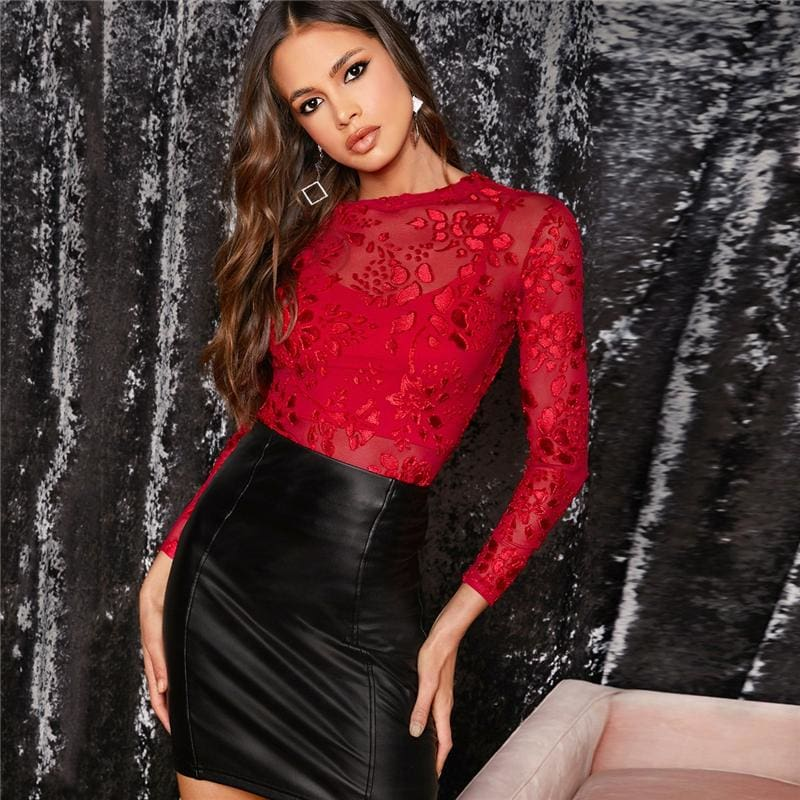 Red Sheer Embroidered Mesh Slim Top Without Cami