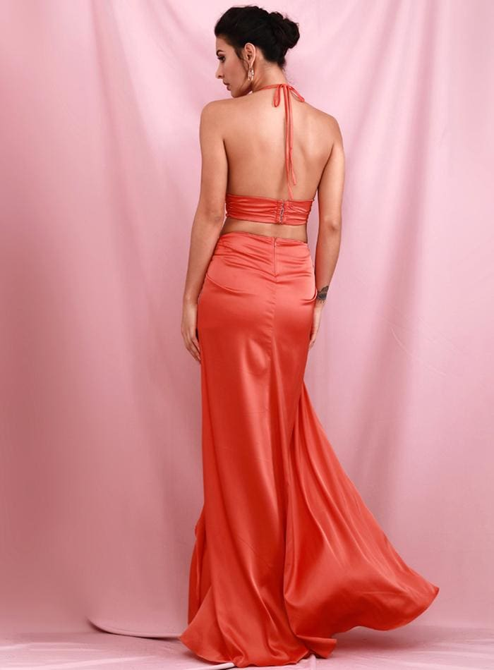 Red V-Neck Open Back Cut Out Put Split Party Maxi Dress - RED / M - Dresses