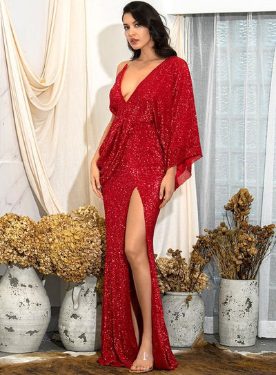 Red V-Neck Sequins Split Prom Maxi Dress - Dresses