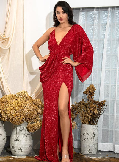 Red V-Neck Sequins Split Prom Maxi Dress - RED / S - Dresses