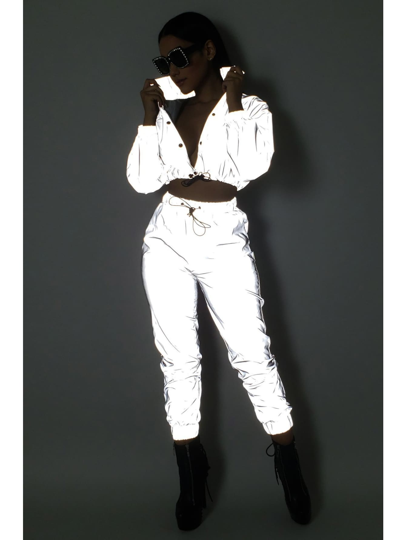 Reflective Drawstring Crop Top and Pants Festival Outfit Tracksuit - L - Festival & Glitter