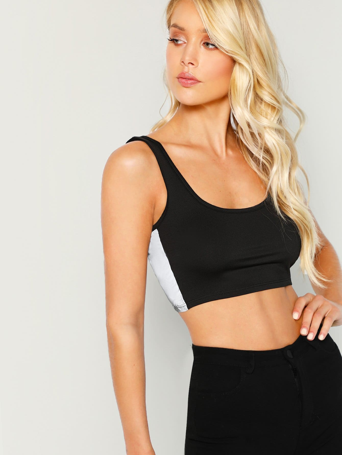Reflective Side Stripe Crop Top - Sport Bras