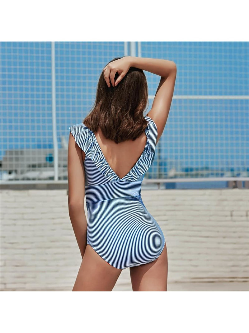 Retro V Neck Blue Striped Ruffled Push Up Monokini - White Blue Striped / XL - One Piece Swimwear