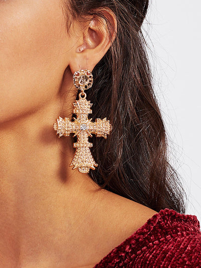 Rhinestone Cross Drop Earrings - Earrings