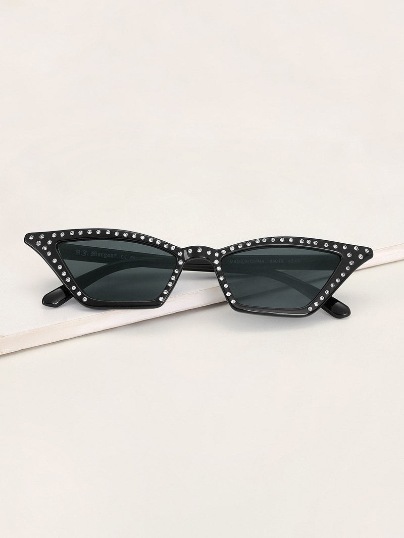 Rhinestone Decor Cat Eye Sunglasses - Sunglasses