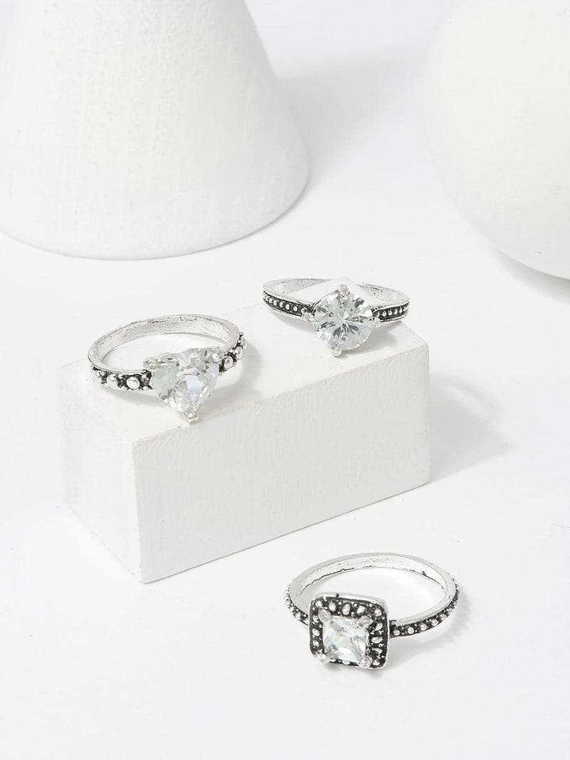 Rhinestone Detail Ring Set 3Pcs - Rings