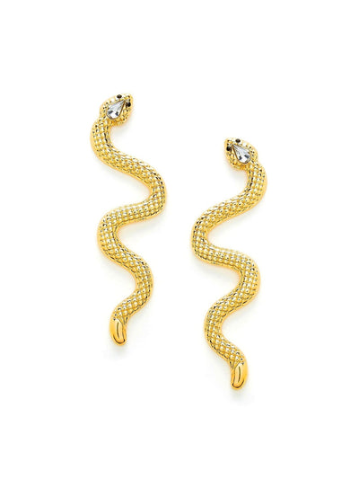 Rhinestone Detail Snake Earrings - Earrings