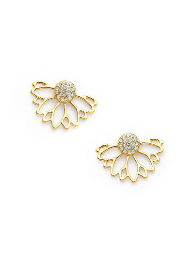 Rhinestone Hollow Lotus Design Earrings - Earrings