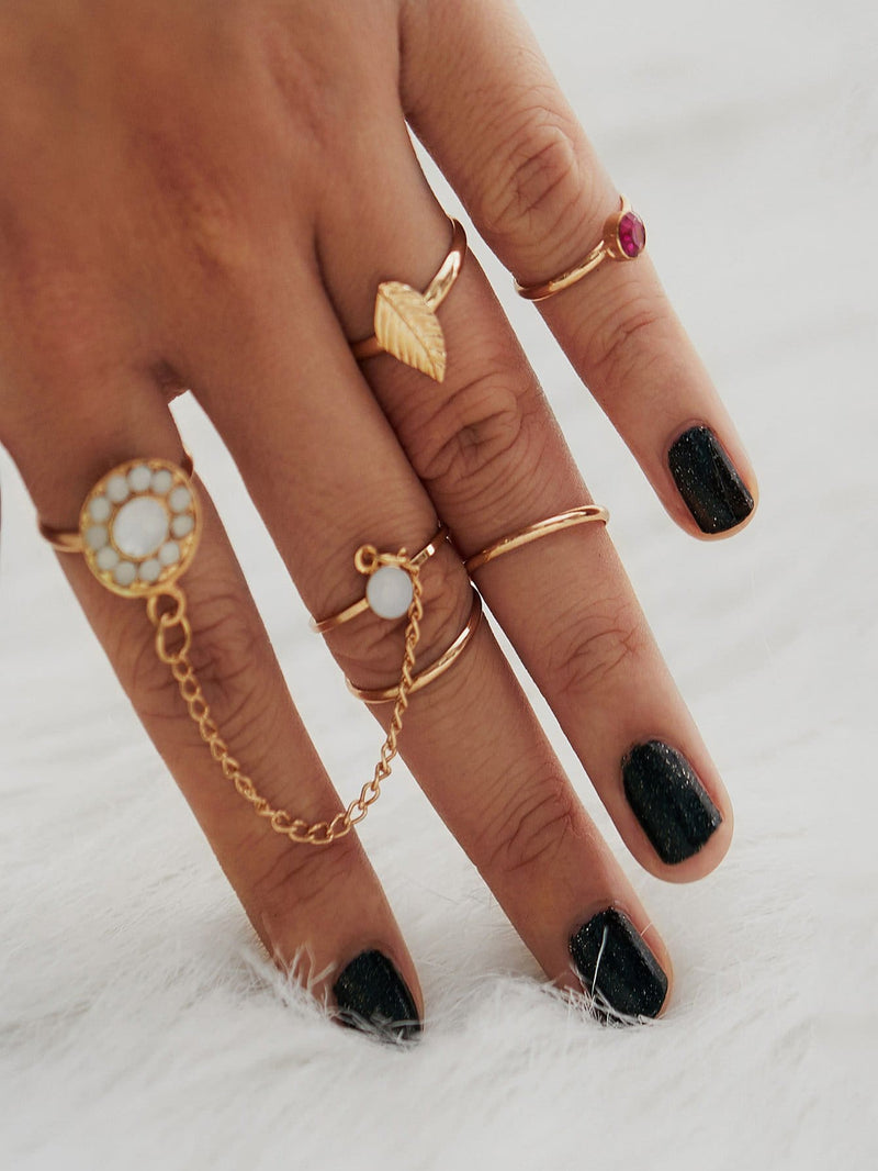 Rhinestone Leaf Design Ring Set - Rings