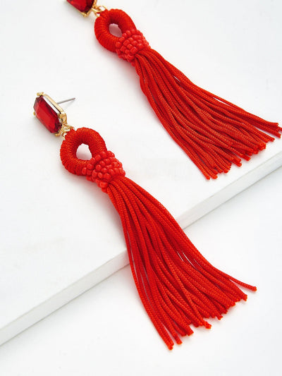 Rhinestone Top Tassel Drop Earrings - Earrings