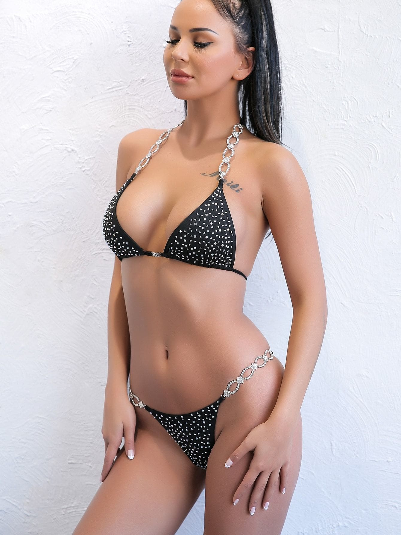 Rhinestone Triangle Top With Tanga Bikini Set - S - Bikini