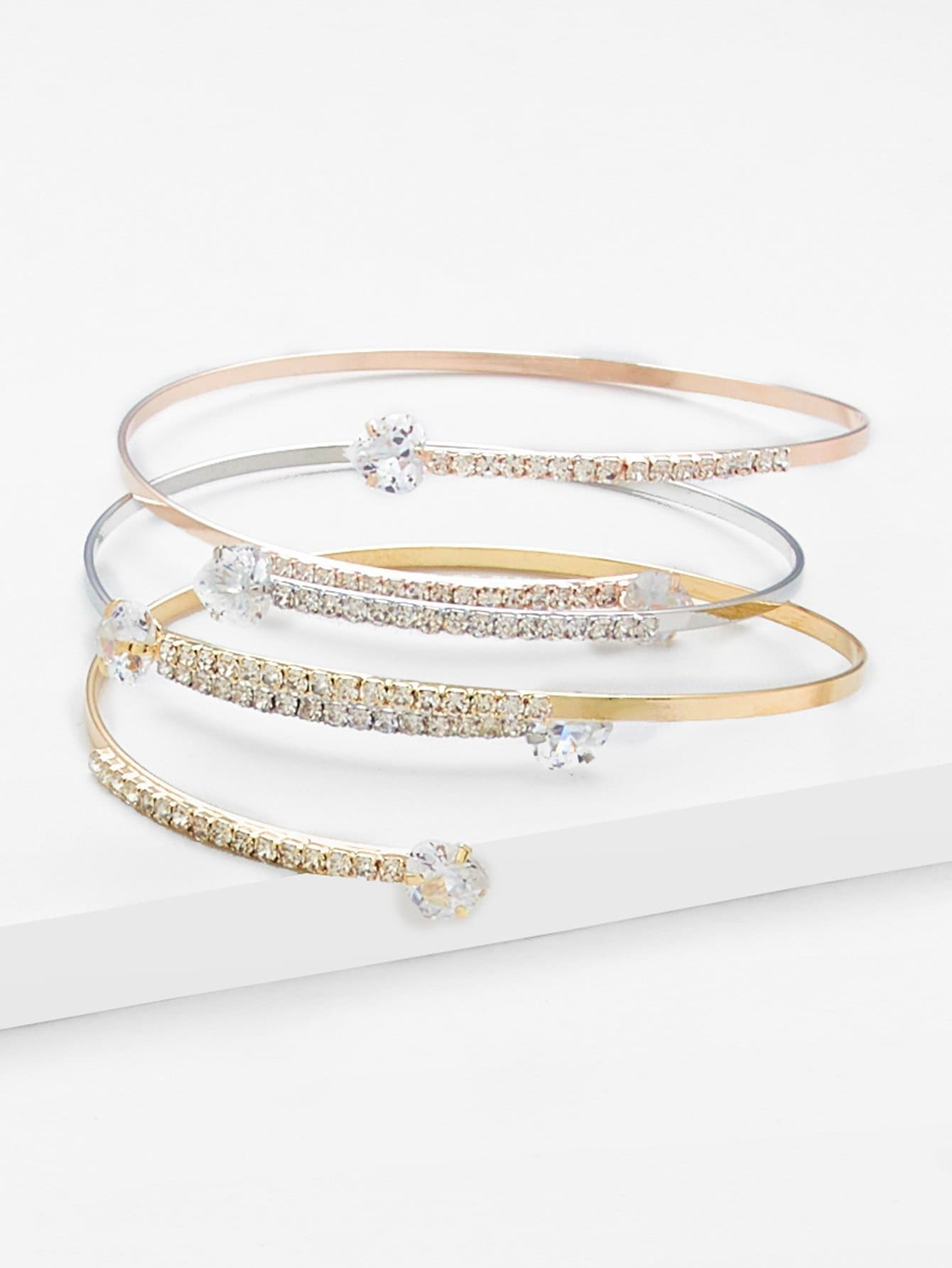 Rhinestone Wrap Festival Bangle 3pcs