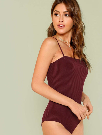 Ribbed Knit Cami Bodysuit - Bodysuits