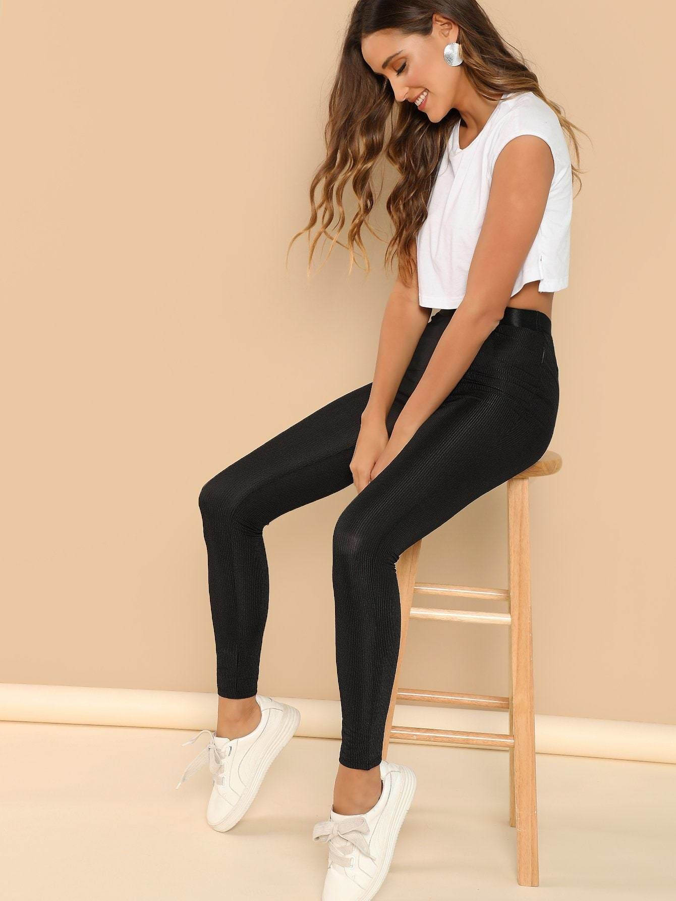 Ribbon Waistband Rib Knit Leggings - Fittness Leggings