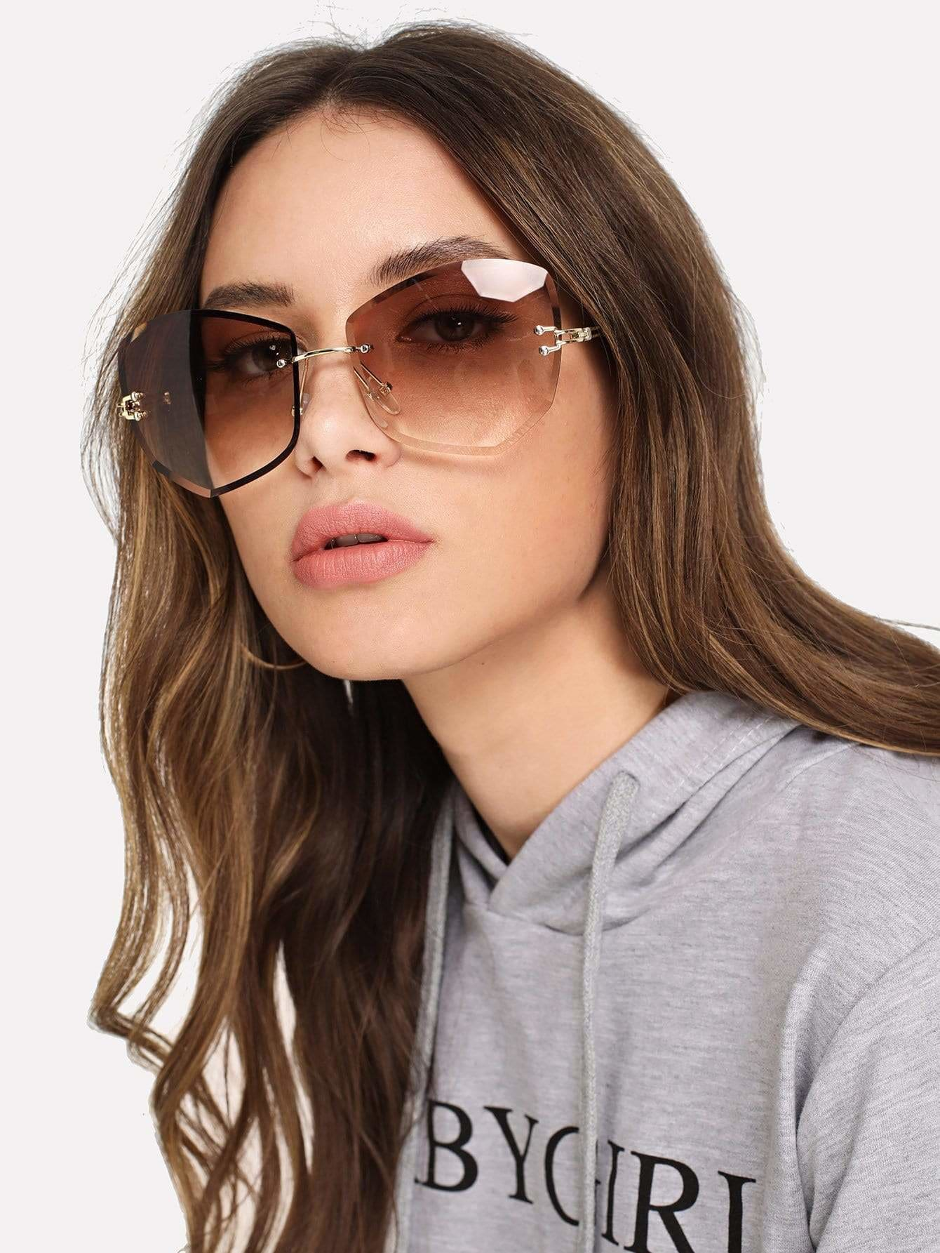 Rimless Ombre Sunglasses - Brown - Sunglasses
