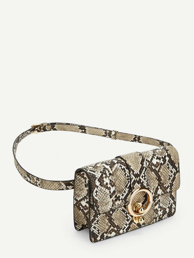 Ring Decor Snakeskin Pattern Bum Bag - Womens Bag
