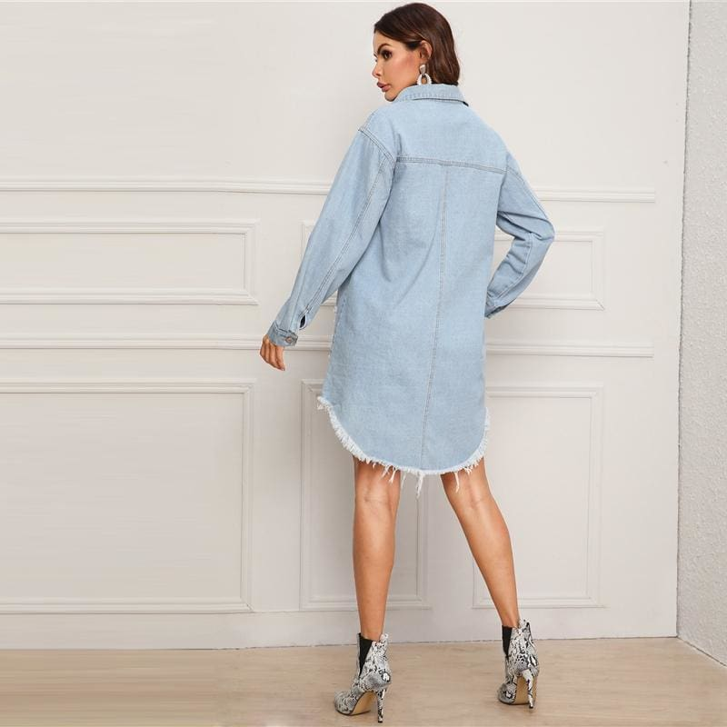 Ripped Frayed Edge Denim Shirt Day Mini Dress