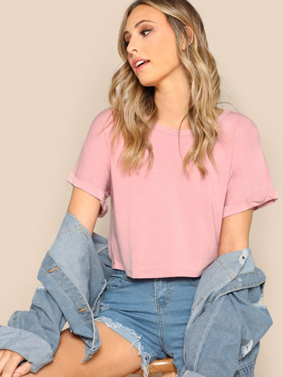 Rolled Up Sleeve Solid Crop T-shirt - Crop Tops