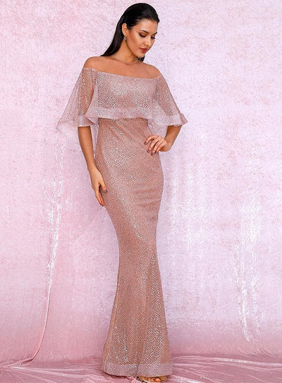 Rose Gold Cloak Style Sequin Bodycon Prom Maxi Dress - Dresses