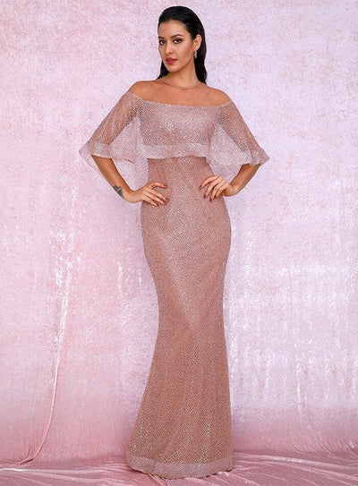 Rose Gold Cloak Style Sequin Bodycon Prom Maxi Dress - ROSE GOLD / XS - Dresses