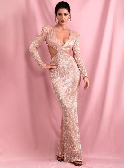 Rose Gold Deep V-Neck Cut Out Shrug Open Back Sequins Prom Maxi Dress - ROSE GOLD / L - Dresses