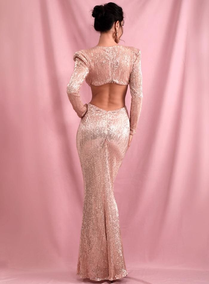 Rose Gold Deep V-Neck Cut Out Shrug Open Back Sequins Prom Maxi Dress