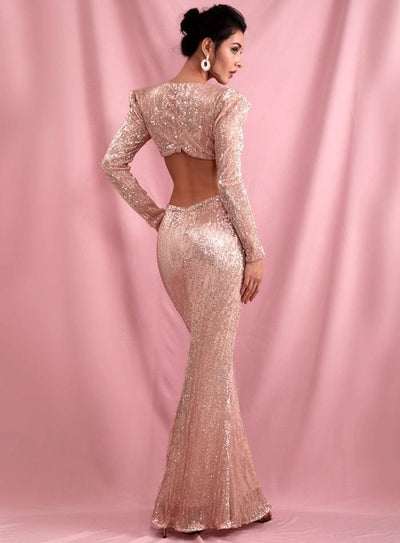 Rose Gold Deep V-Neck Cut Out Shrug Open Back Sequins Prom Maxi Dress - Dresses