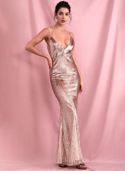 Rose Gold Deep V-Neck Geometric Sequins Open Back Prom Maxi Dress - Dresses