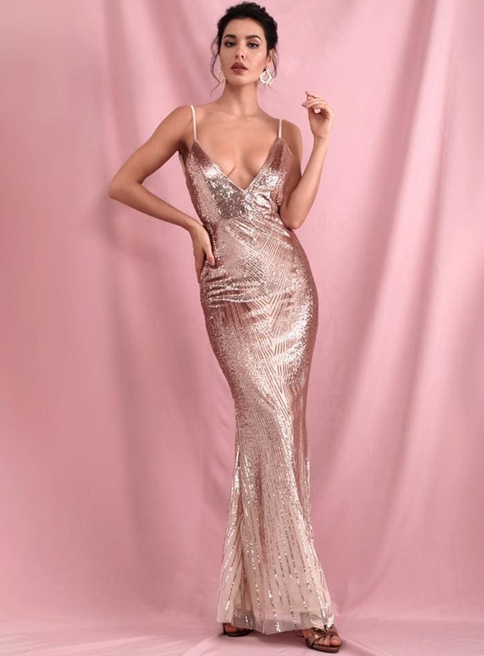 Rose Gold Deep V-Neck Geometric Sequins Open Back Prom Maxi Dress