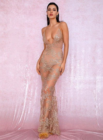 Rose Gold Deep V-Neck Perspective Open Back Leaves Sequin Prom Maxi Dress - Dresses