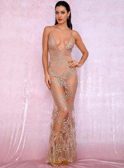 Rose Gold Deep V-Neck Perspective Open Back Leaves Sequin Prom Maxi Dress - GOLD / S - Dresses