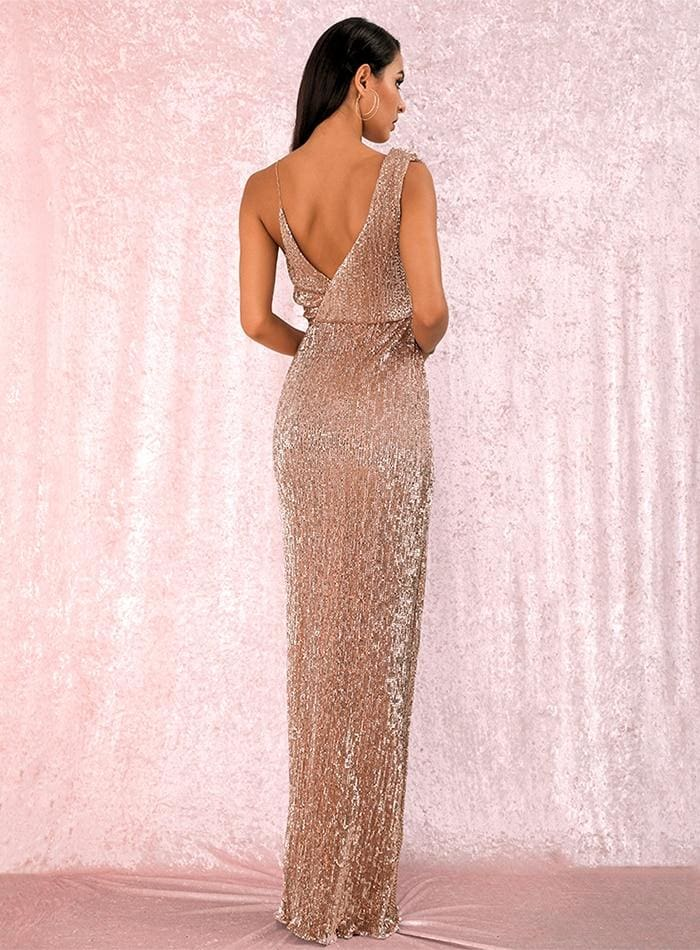 Rose Gold Deep V-Neck Sequins Prom Maxi Dress