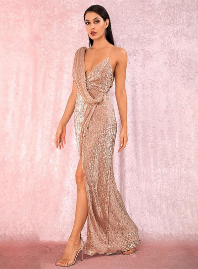 Rose Gold Deep V-Neck Sequins Prom Maxi Dress - ROSE GOLD / M - Dresses