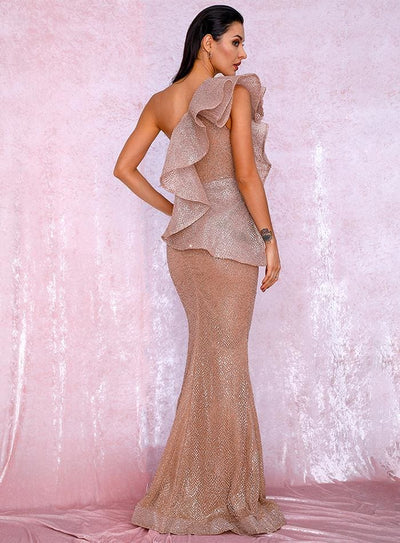 Rose Gold One Shoulder Ruffled Sequin Prom Maxi Dress - Dresses