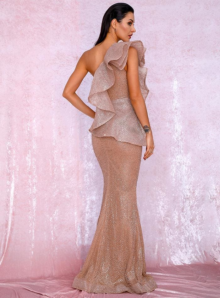 Rose Gold One Shoulder Ruffled Sequin Prom Maxi Dress