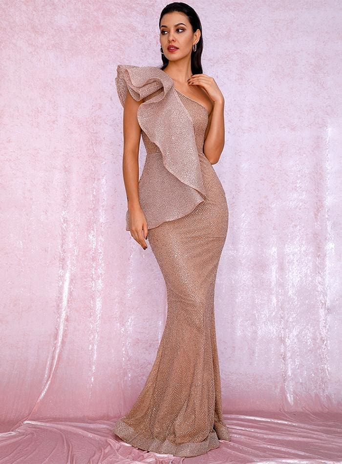 Rose Gold One Shoulder Ruffled Sequin Prom Maxi Dress - ROSE GOLD / XS - Dresses