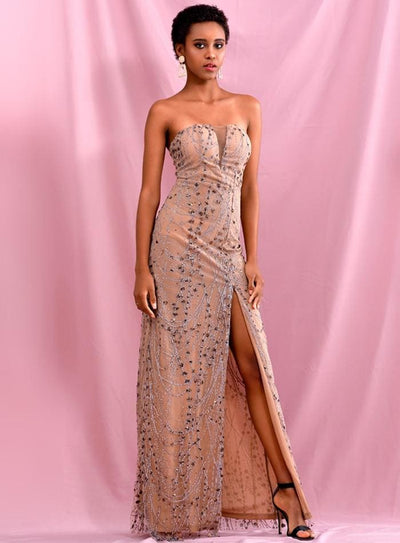 Rose Gold Tube Top Glitter Glued Split Prom Maxi Dress - GOLD / L - Dresses