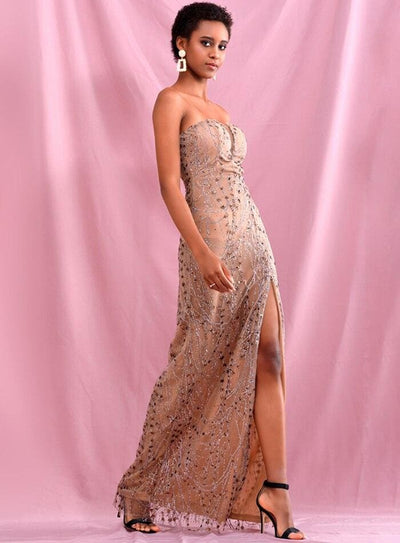 Rose Gold Tube Top Glitter Glued Split Prom Maxi Dress - Dresses