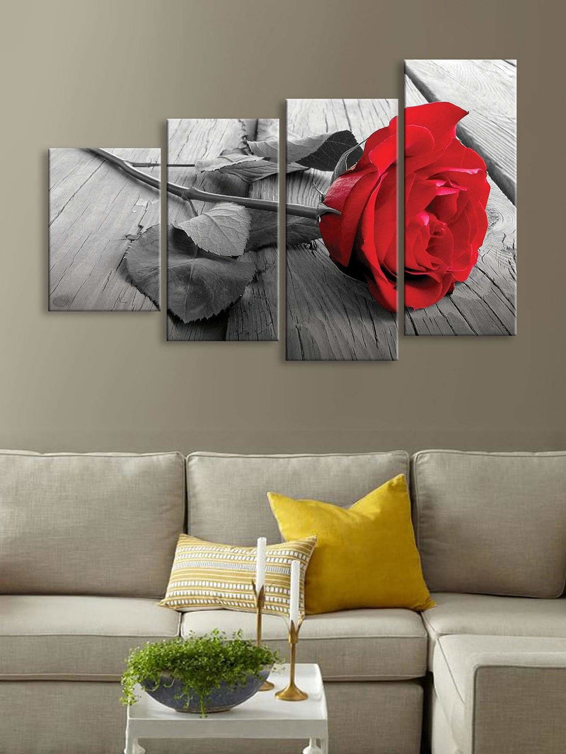 Rose Print Wall Art 4Pcs - Wall Art