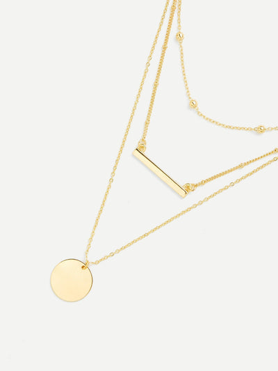 Round & Bar Pendant Link Necklace - Necklaces