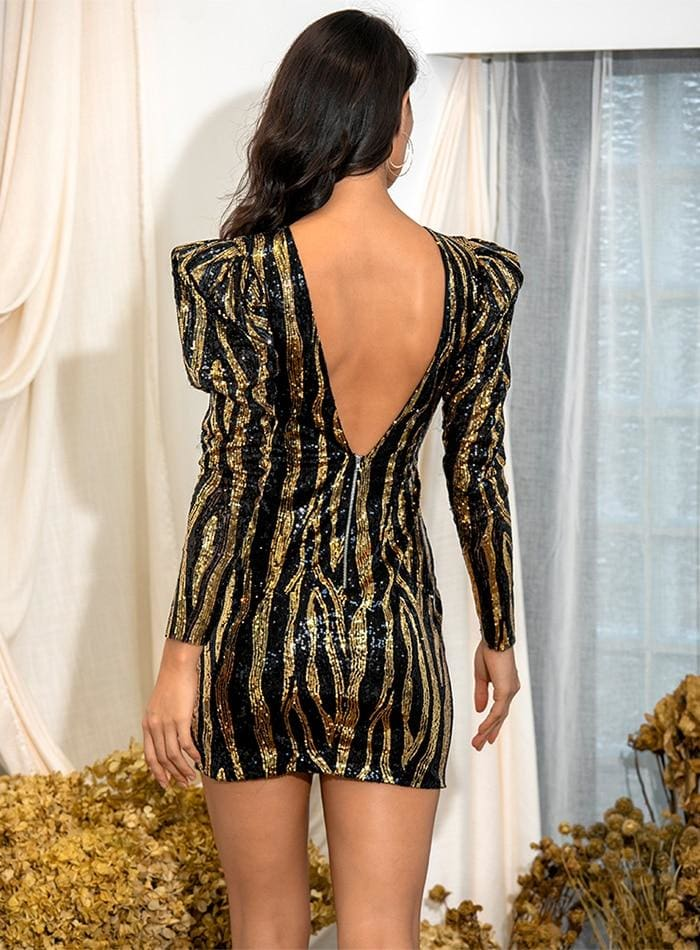 Round Neck Open Back Sequin Bubble Party Mini Dress - S - Dresses
