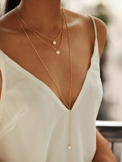 Round Pendant Layered Necklace Set - Necklaces